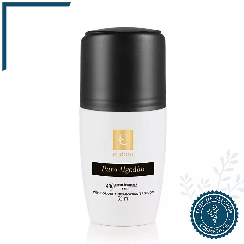 Desodorante Antitranspirante Roll-On | Puro Algodão - 55 ml  - Flor de Alecrim - Cosméticos
