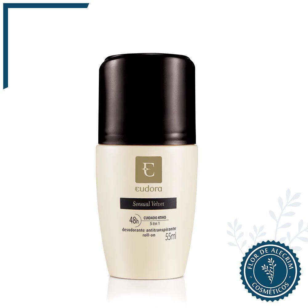 Desodorante Antitranspirante Roll-On Sensual Velvet - 55 ml   Eudora  - Flor de Alecrim - Cosméticos