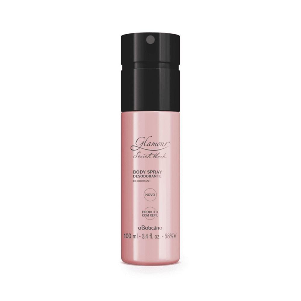 Desodorante Body Spray Glamour Secrets Black - 100 ml | O Boticário  - Flor de Alecrim - Cosméticos