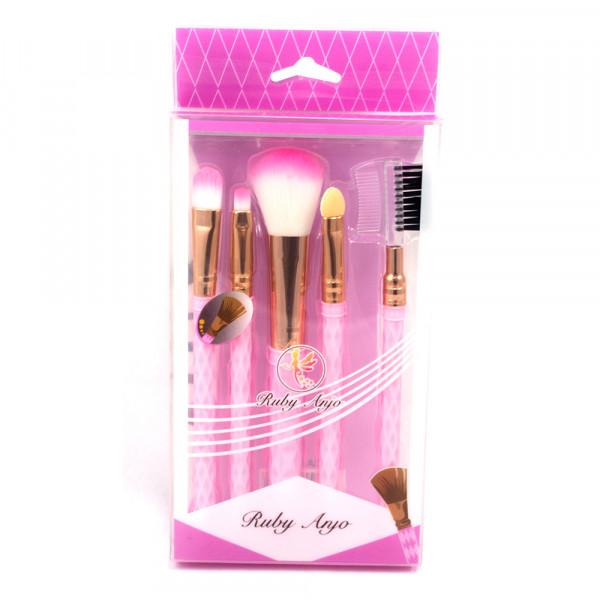 Kit com 5 Pincéis para Maquiagem Ruby Anjo RA-089  - Flor de Alecrim - Cosméticos