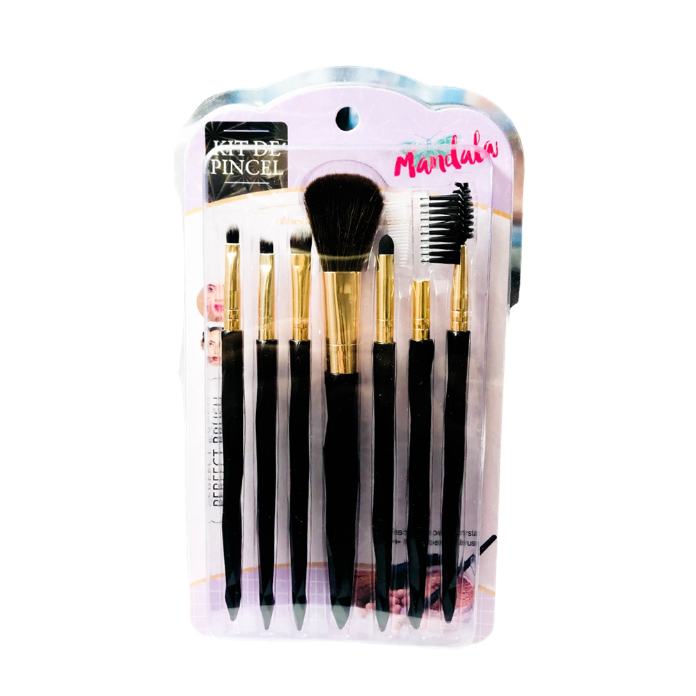Kit com 7 Pincéis para Maquiagem Mandala PM-002  - Flor de Alecrim - Cosméticos