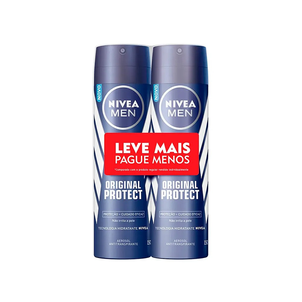 Kit Desodorante Antitranspirante Aerosol Nivea Men Original Protect 150 Ml  - Flor de Alecrim - Cosméticos