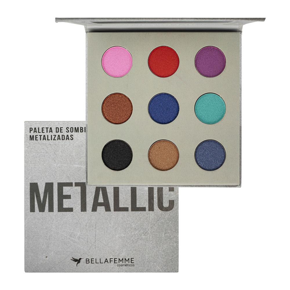 Paleta de Sombra Metallic Bella Femme 9 Shades 10 g  - Flor de Alecrim - Cosméticos
