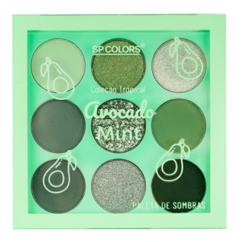 Paleta de Sombras 9 Cores Avocado Mint SP Colors 6 g  - Flor de Alecrim - Cosméticos