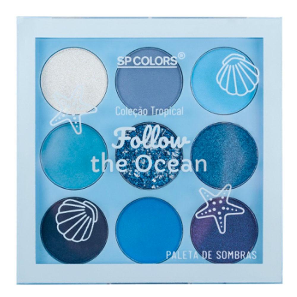 Paleta de Sombras 9 Cores Follow The Ocean SP Colors 6 g  - Flor de Alecrim - Cosméticos