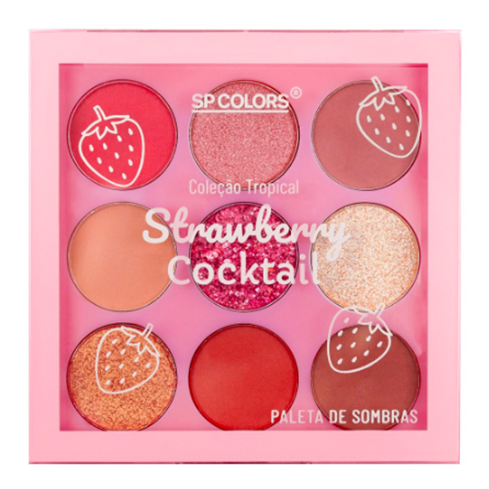 Paleta de Sombras 9 Cores Strawberry Cocktail SP Colors 6 g  - Flor de Alecrim - Cosméticos
