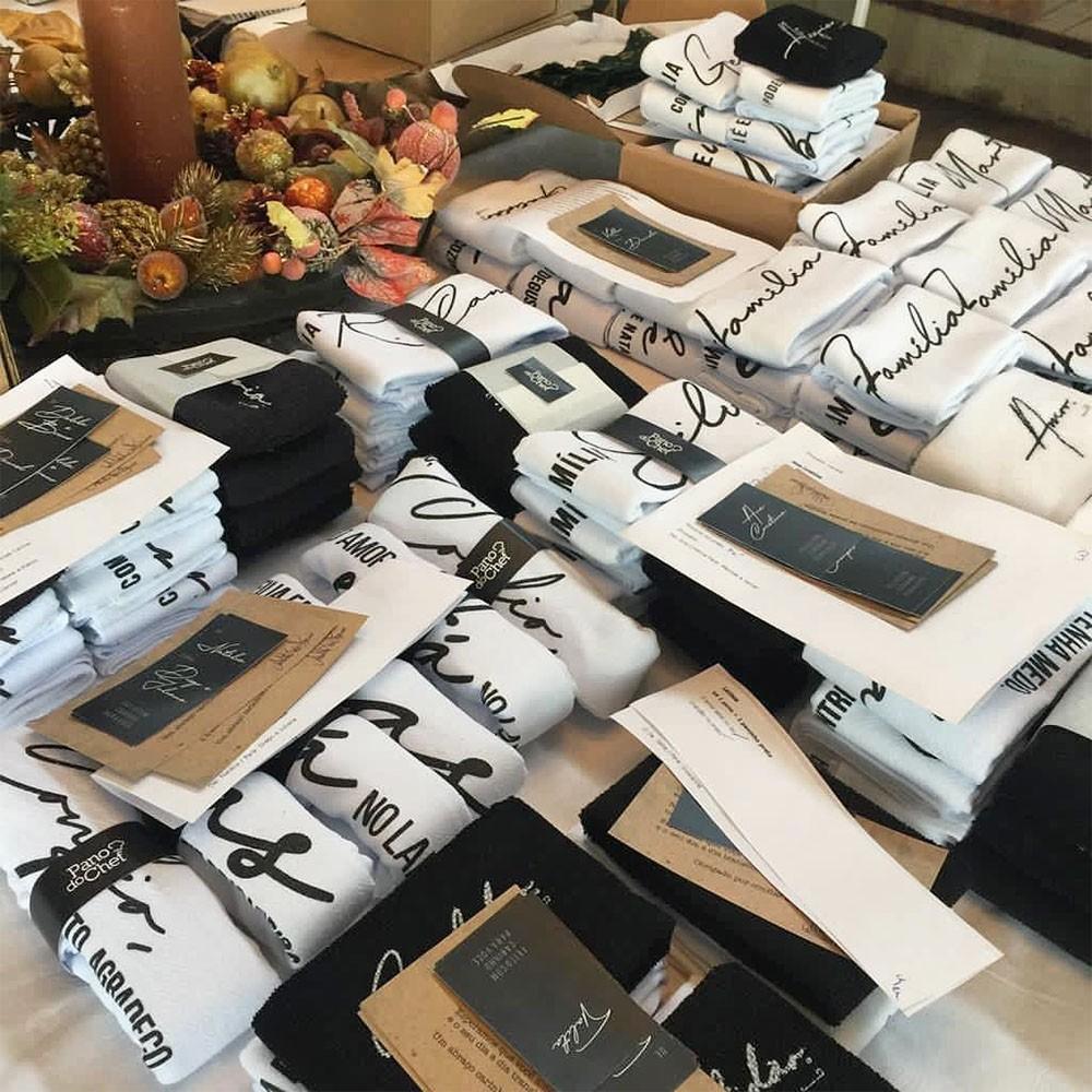 Pano de Prato Personalizado 2 unidades Coleção Família Pano do Chef  - Flor de Alecrim - Cosméticos