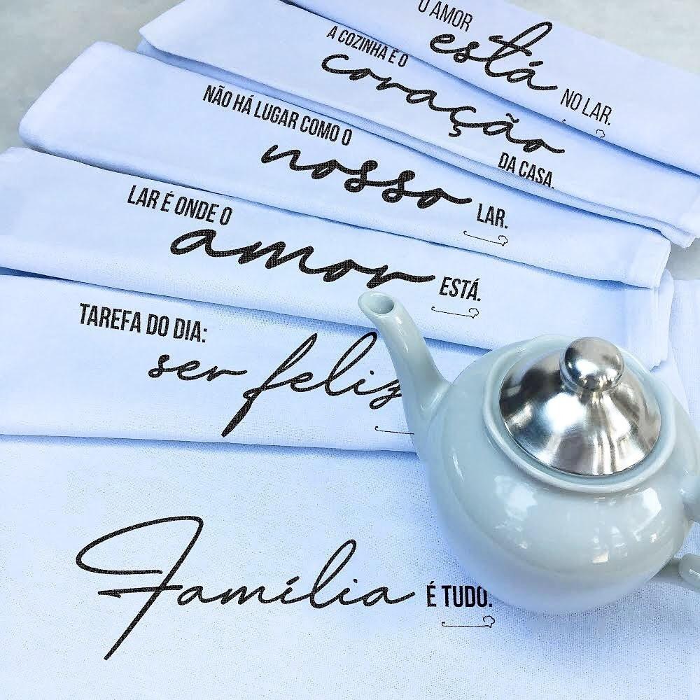 Pano de Prato Personalizado - 6 unid. Coleção Família | Pano do Chef  - Flor de Alecrim - Cosméticos