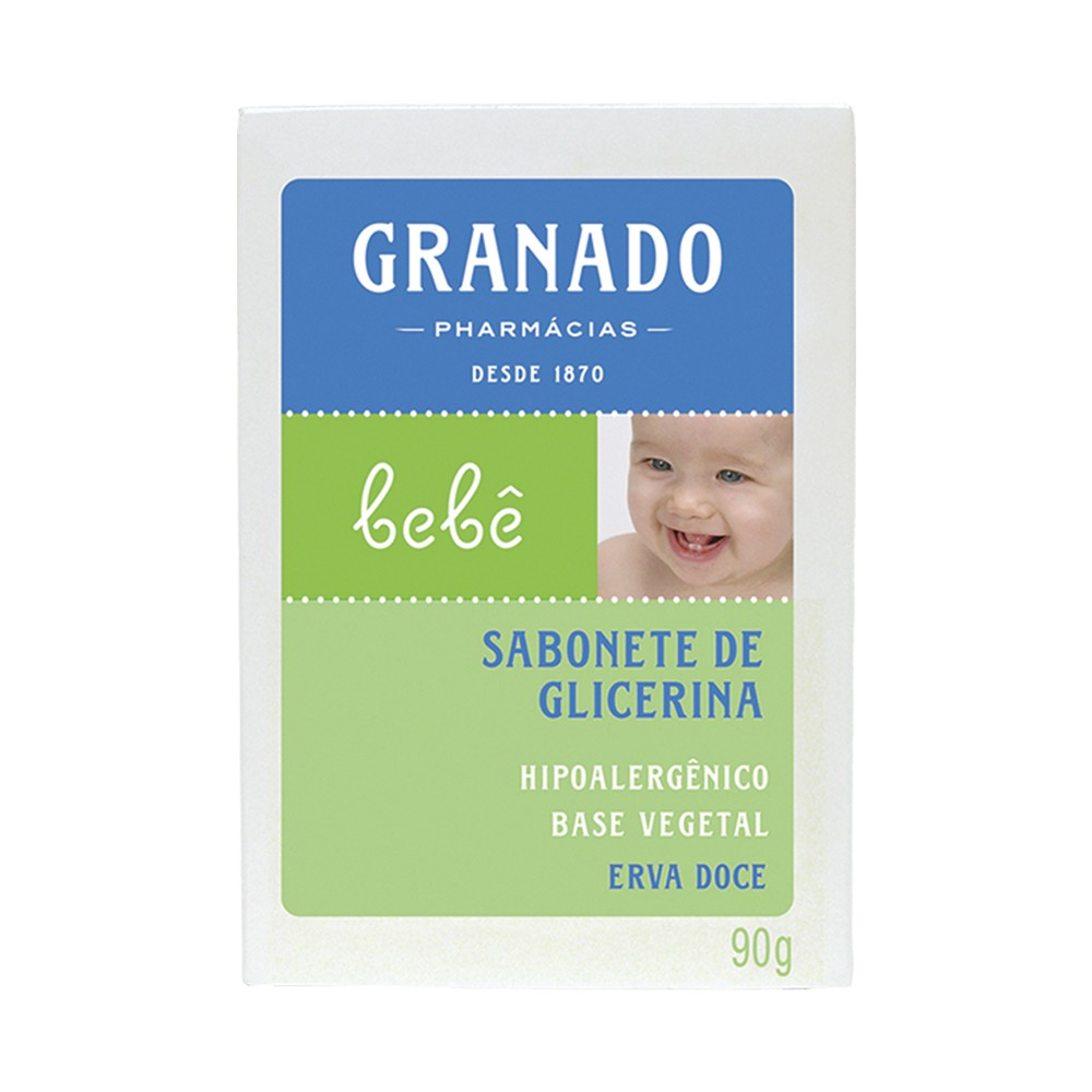 Sabonete Barra Bebê Granado Erva Doce 90 g  - Flor de Alecrim - Cosméticos