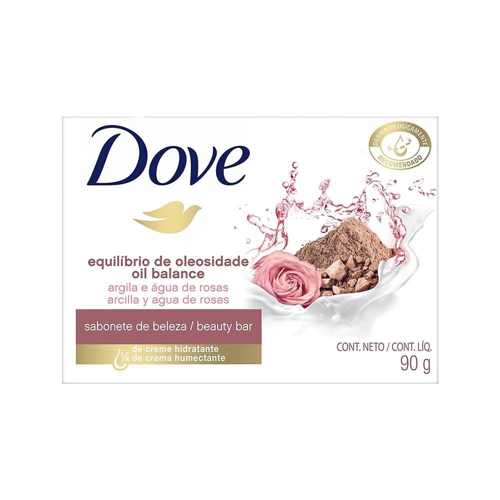 Sabonete em Barra Equilíbrio de Oleosidade Argila e Água de Rosas - 90 g | Dove  - Flor de Alecrim - Cosméticos