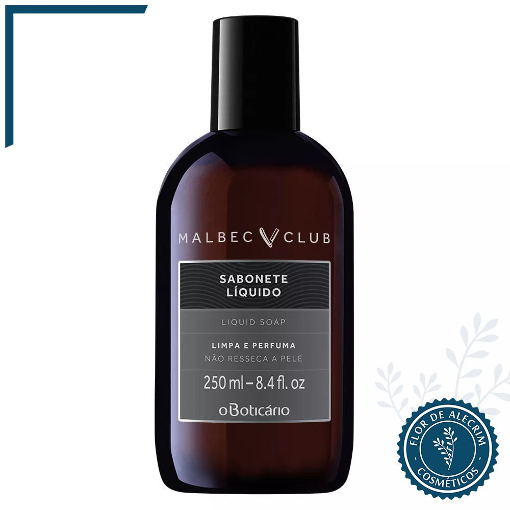 Sabonete Líquido   Malbec Club - 250 ml  - Flor de Alecrim - Cosméticos