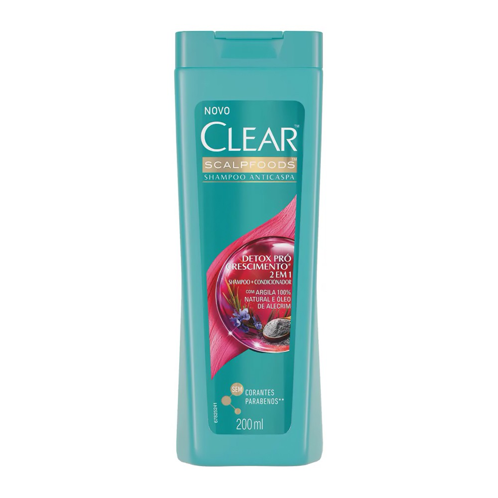 Shampoo 2 Em 1 Anticaspa Detox Pró Crescimento - 200 Ml | Clear  - Flor de Alecrim - Cosméticos