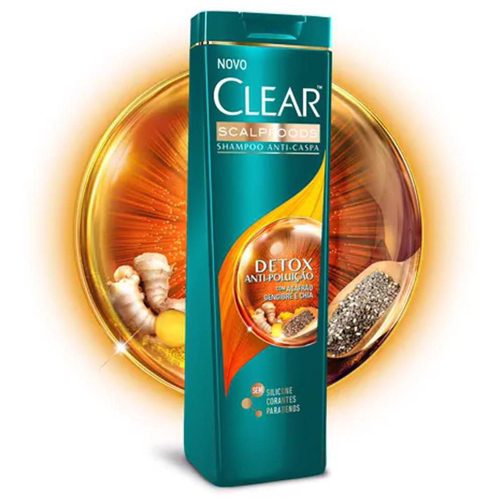 Shampoo Clear Anticaspa Detox Antipoluição 200 Ml  - Flor de Alecrim - Cosméticos