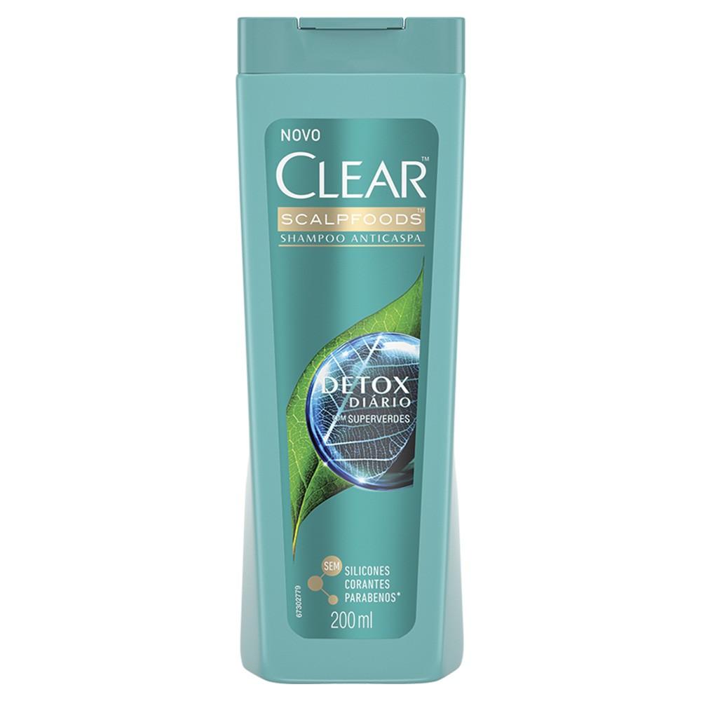 Shampoo Anticaspa Detox Diário - 200 Ml | Clear  - Flor de Alecrim - Cosméticos