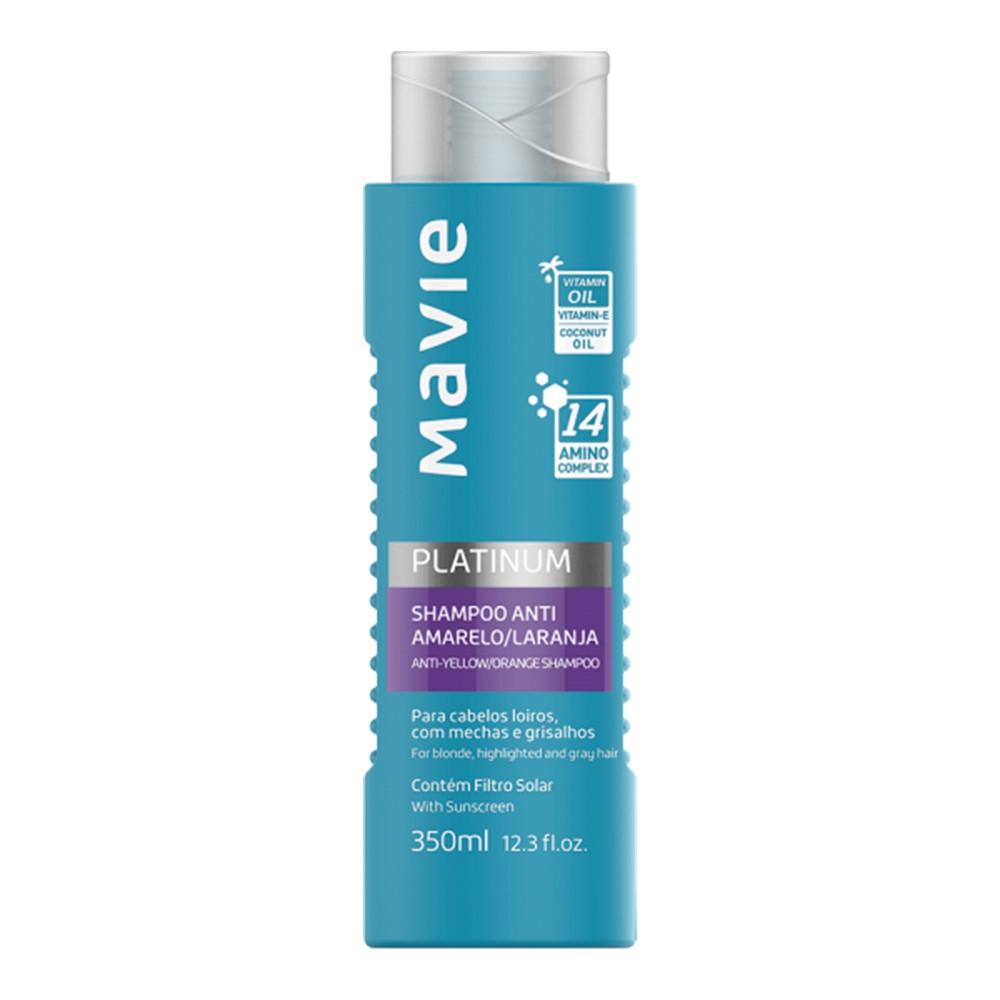 Shampoo Vegano Anti-amarelo e Laranja Platinum - 350 Ml | Mavie  - Flor de Alecrim - Cosméticos
