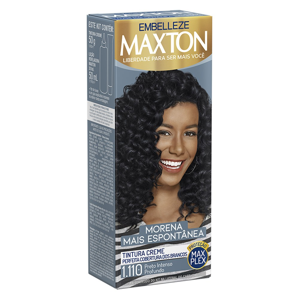 Tintura Creme 1.110 Preto Intenso Profundo MaxTon - Morena + Espontânea 50 g  - Flor de Alecrim - Cosméticos