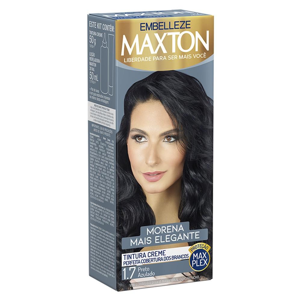 Tintura Creme 1.7 Preto Azulado MaxTon - Morena + Elegante 50 g   - Flor de Alecrim - Cosméticos