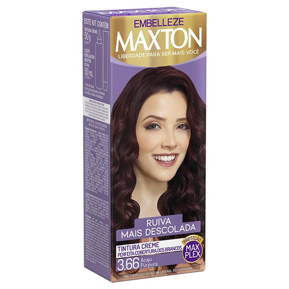 Tintura Creme 3.66 Acaju Púrpura MaxTon - Ruiva + Descolada 50 g  - Flor de Alecrim - Cosméticos