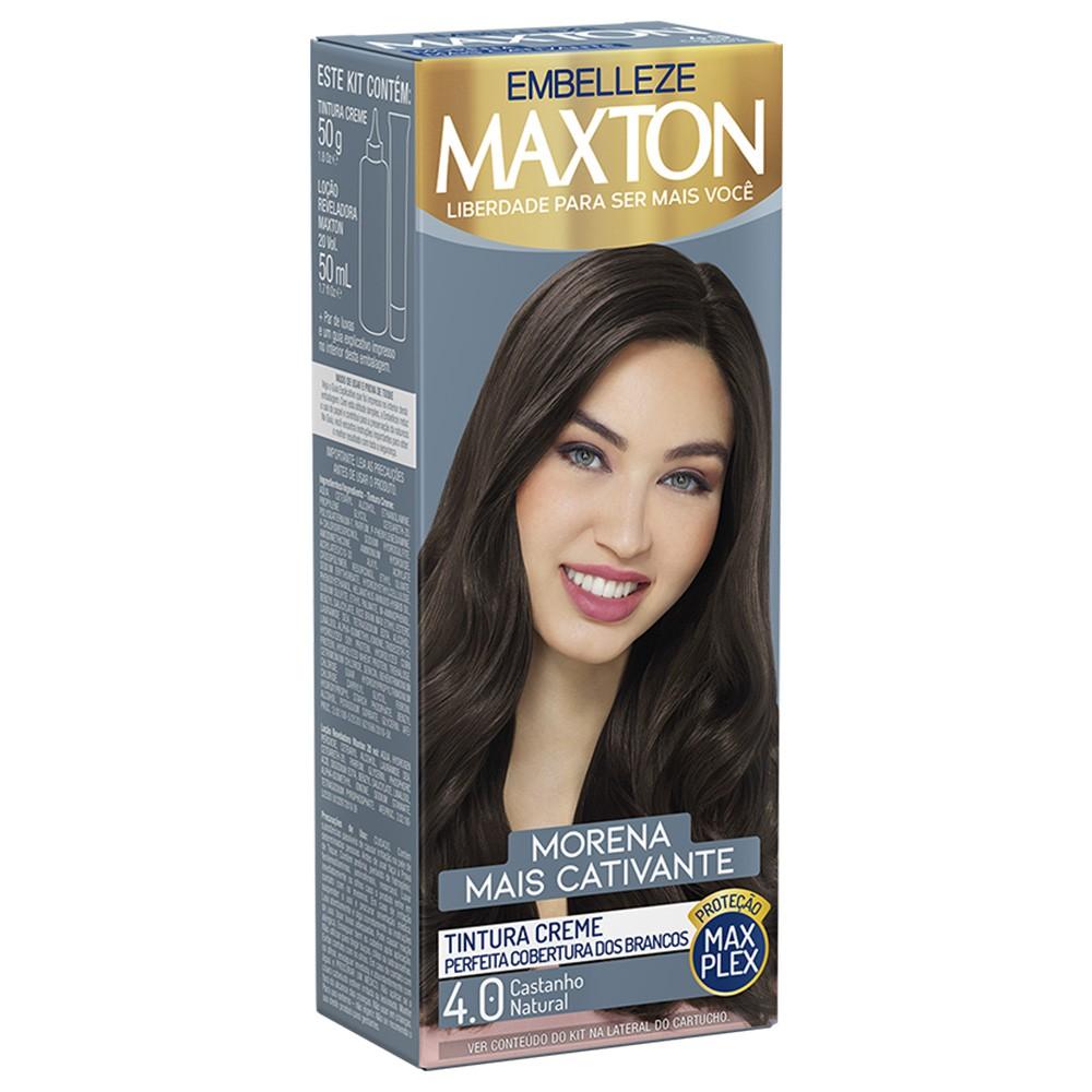 Tintura Creme 4.0 Castanho Natural MaxTon - Morena + Cativante 50 g  - Flor de Alecrim - Cosméticos