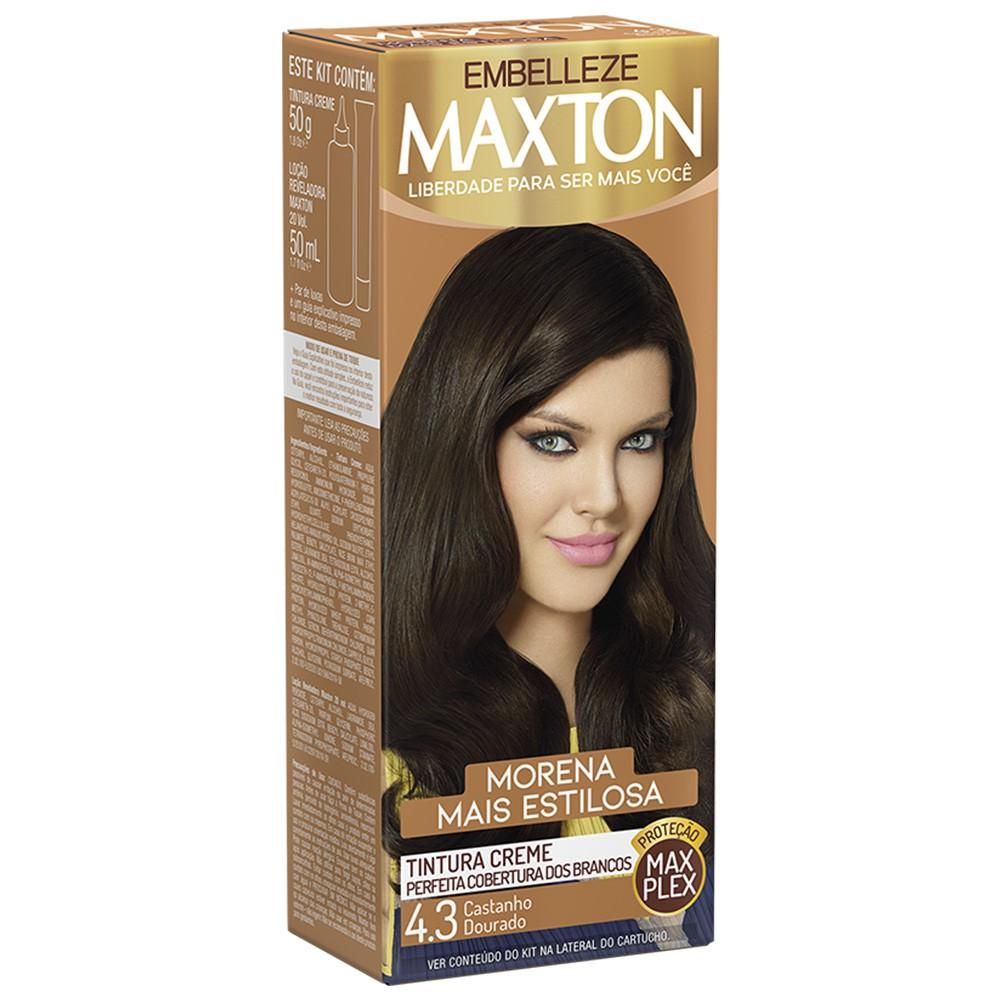 Tintura Creme 4.3 Castanho Dourado MaxTon - Morena + Estilosa - 50 g | Embelleze  - Flor de Alecrim - Cosméticos