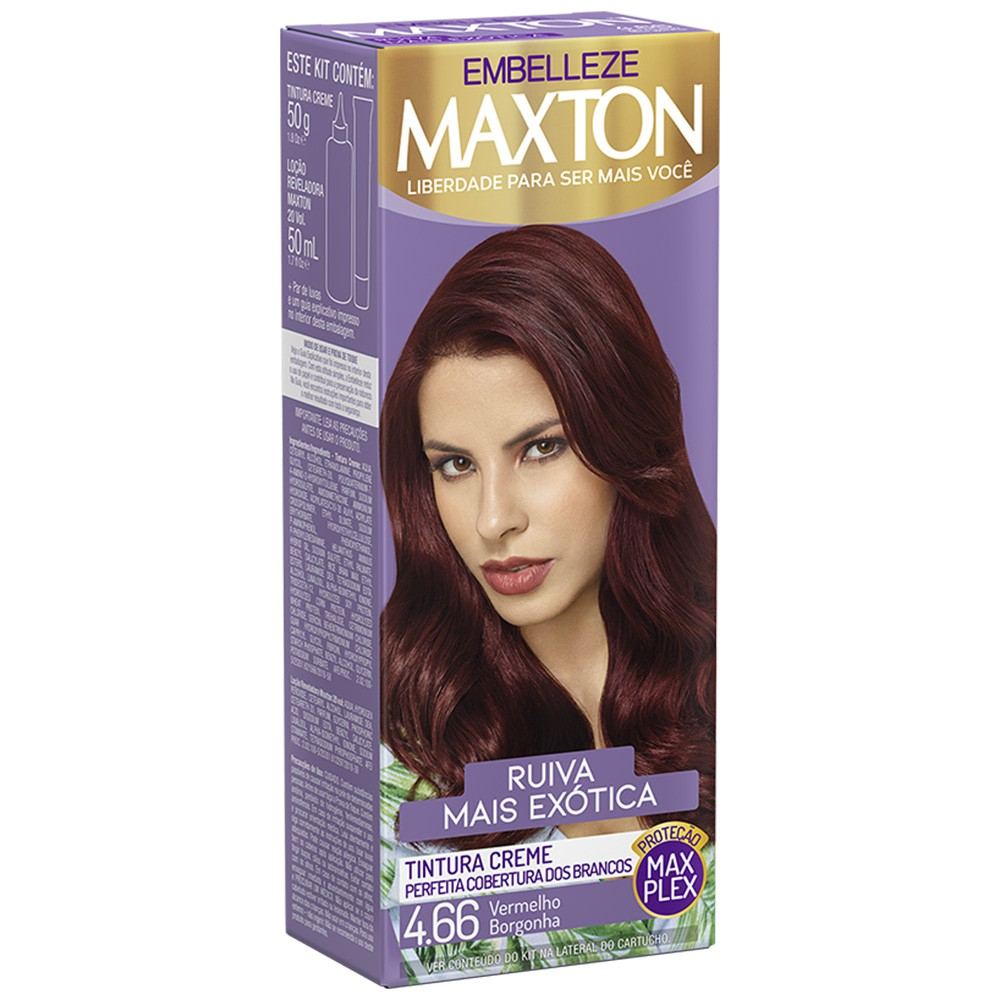 Tintura Creme 4.66 Vermelho Borgonha MaxTon - Ruiva + Exótica 50 g  - Flor de Alecrim - Cosméticos