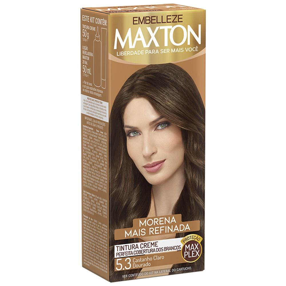 Tintura Creme 5.3 Castanho Claro Dourado MaxTon - Morena + Refinada 50 g  - Flor de Alecrim - Cosméticos