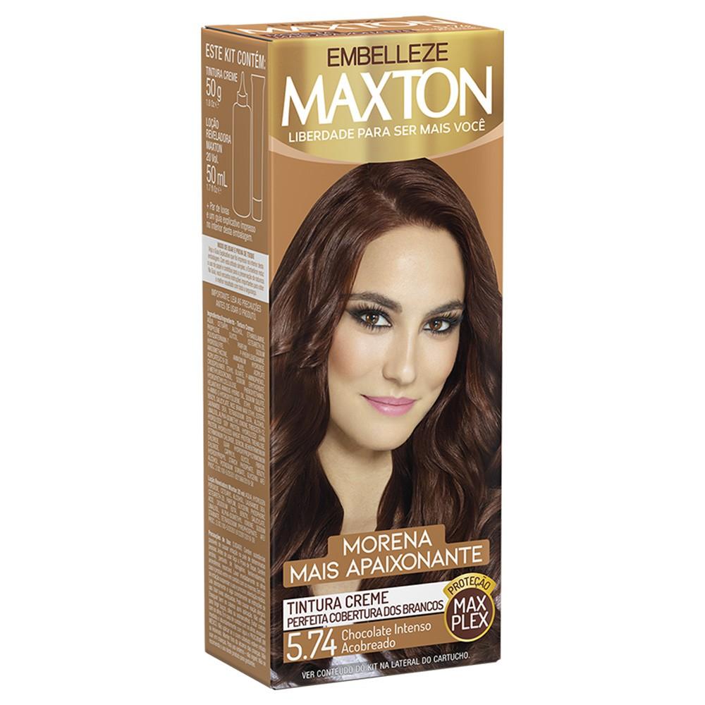 Tintura Creme 5.74 Chocolate Intenso Acobreado MaxTon - Morena + Apaixonante 50 g  - Flor de Alecrim - Cosméticos