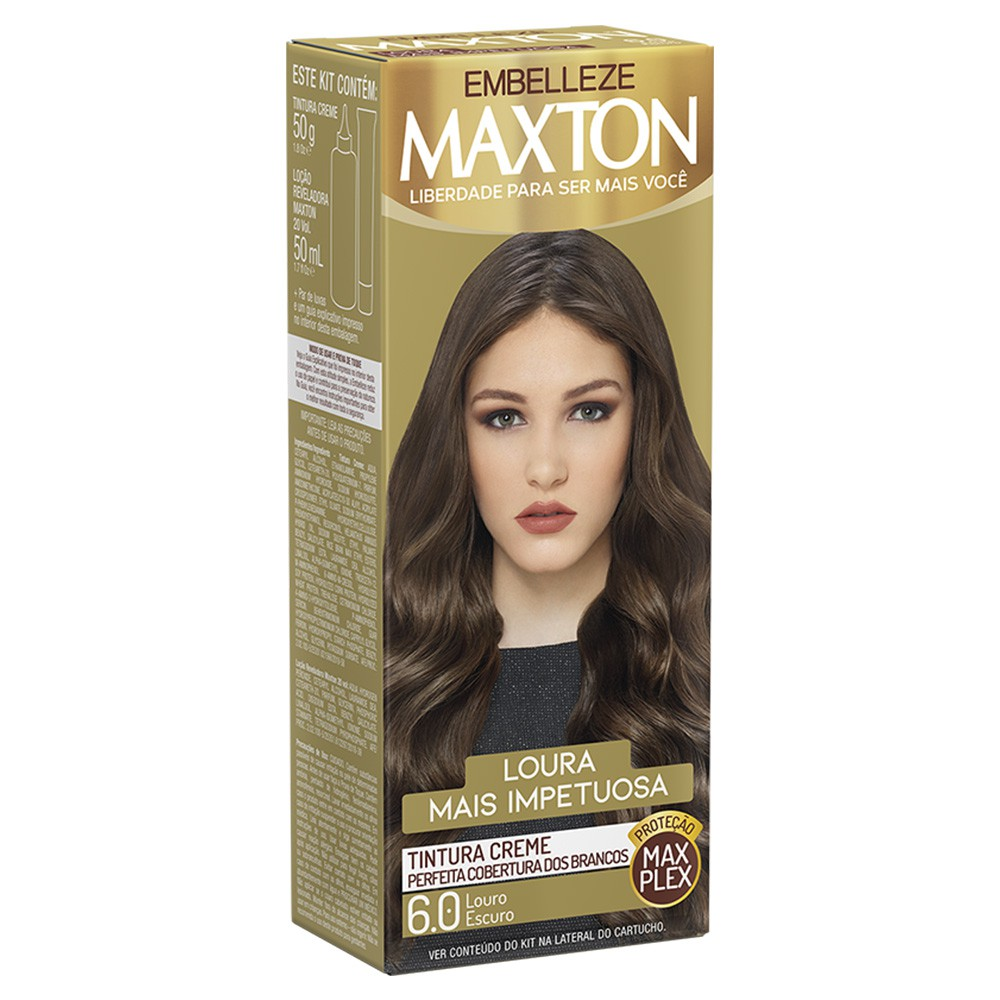 Tintura Creme 6.0 Louro Escuro Conquista MaxTon - Cor Intensa e Radiante - 50 g | Embelleze  - Flor de Alecrim - Cosméticos