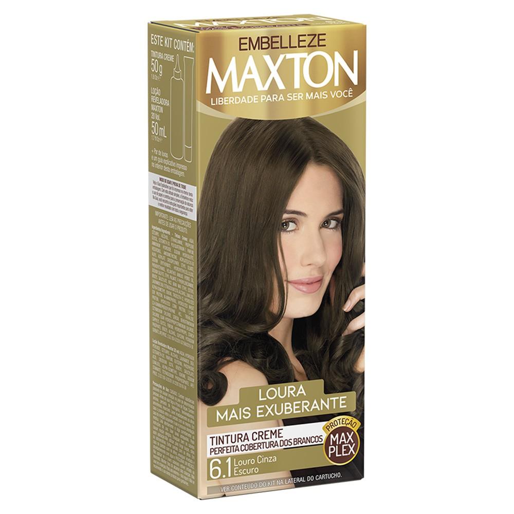 Tintura Creme 6.1 Louro Cinza Escuro MaxTon - Louro + Exuberante - 50 g | Embelleze  - Flor de Alecrim - Cosméticos