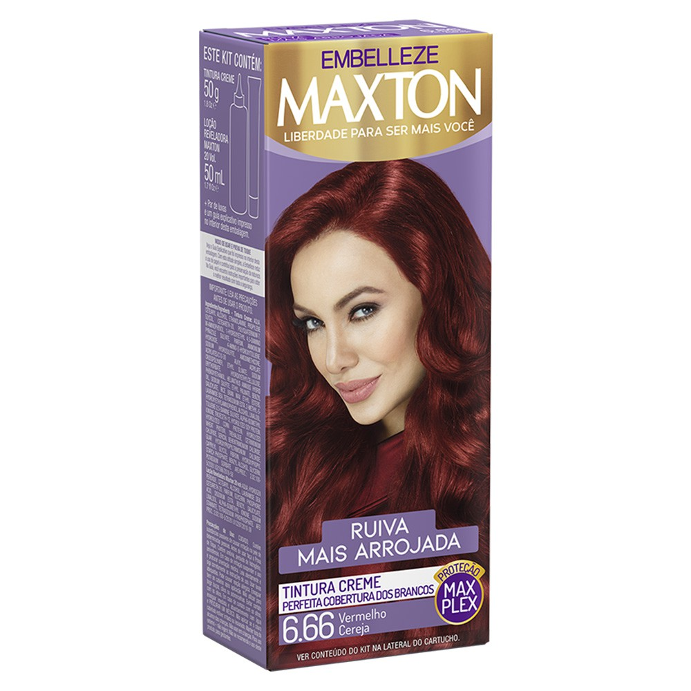 Tintura Creme 6.66 Vermelho Cereja MaxTon - Cor Intensa e Radiante - 50 g | Embelleze  - Flor de Alecrim - Cosméticos