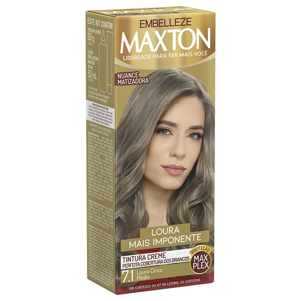 Tintura Creme 7.1 Louro Cinza Médio MaxTon - Loura + Imponente 50 g  - Flor de Alecrim - Cosméticos