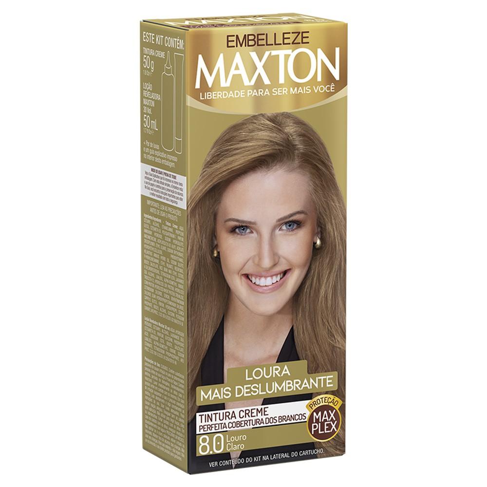 Tintura Creme 8.0 Louro Claro MaxTon - Loura + Deslumbrante 50 g  - Flor de Alecrim - Cosméticos