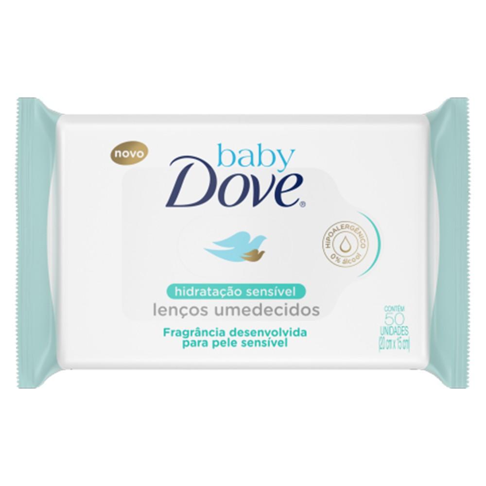 Toalhas Umedecidas Hidratação Sensivel - 50 Unid   Dove  - Flor de Alecrim - Cosméticos