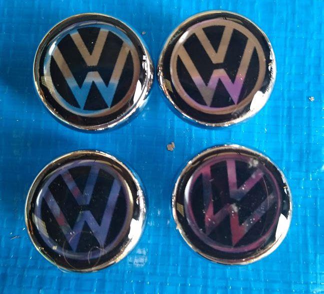 Jogo de botões do painel do Fusca Cromado com logo VW