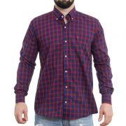 Camisa TXC Brand manga longa Xadrez marinho e vermelho 2116L