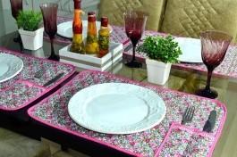 Jogo Americano Matelado com 10 Peças - Floral Rosa Pink