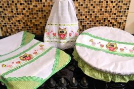 Itens para Cozinha Bordado Ponto Cruz - Corujinha Verde