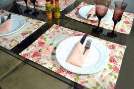 Jogo Americano Floral 12 Pçs - 6 Americanos + 6 Guardanapos - Isabelly