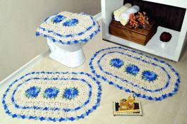 Jogo de Banheiro Crochê - Azul Mesclado