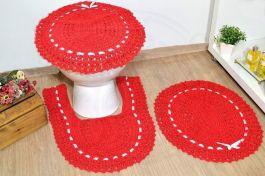 Jogo de Banheiro em Crochê - Vermelho Paixão