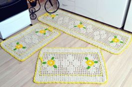 Jogo de Passadeira em Crochê Sofie - Amarelo