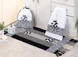 Kit de Lavabo Bordado Black Flowers