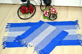 Par de Tapetes de Tear Retangular - Degradê Azul