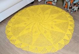 Tapetão de Sala Redondo em Crochê - Amarelo