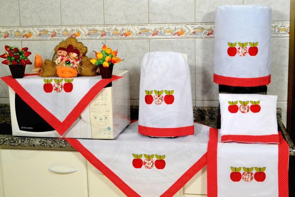 Jogo de Cozinha Bordado Patchwork - Maçã em Vermelho