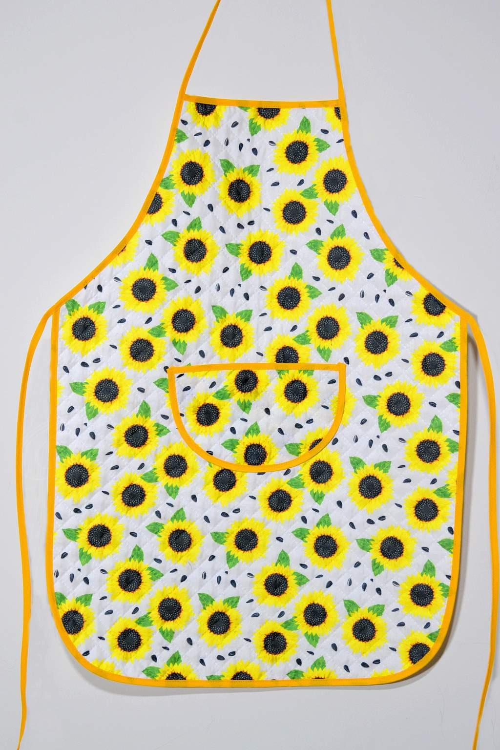 Avental de Cozinha Estampado com Plástico - Flor de Girassol