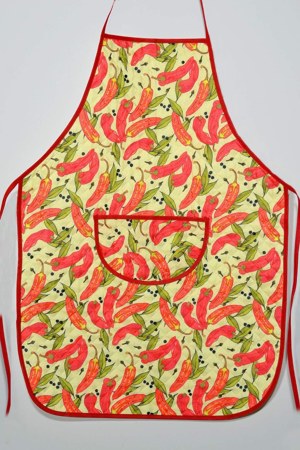 Avental de Cozinha Estampado com Plástico - Pimenta Vermelha