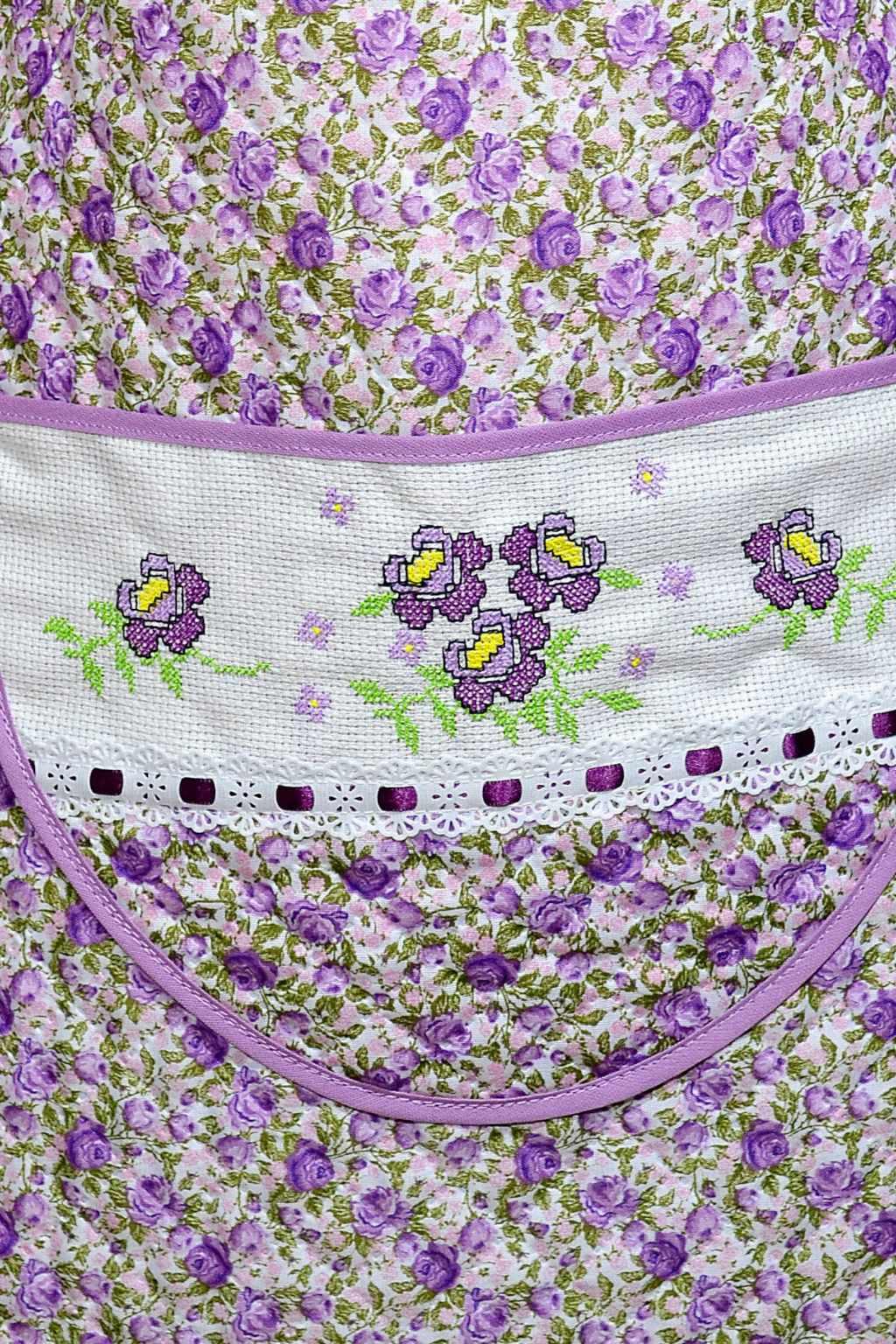 Avental de Cozinha Estampado - Flores em Lilás