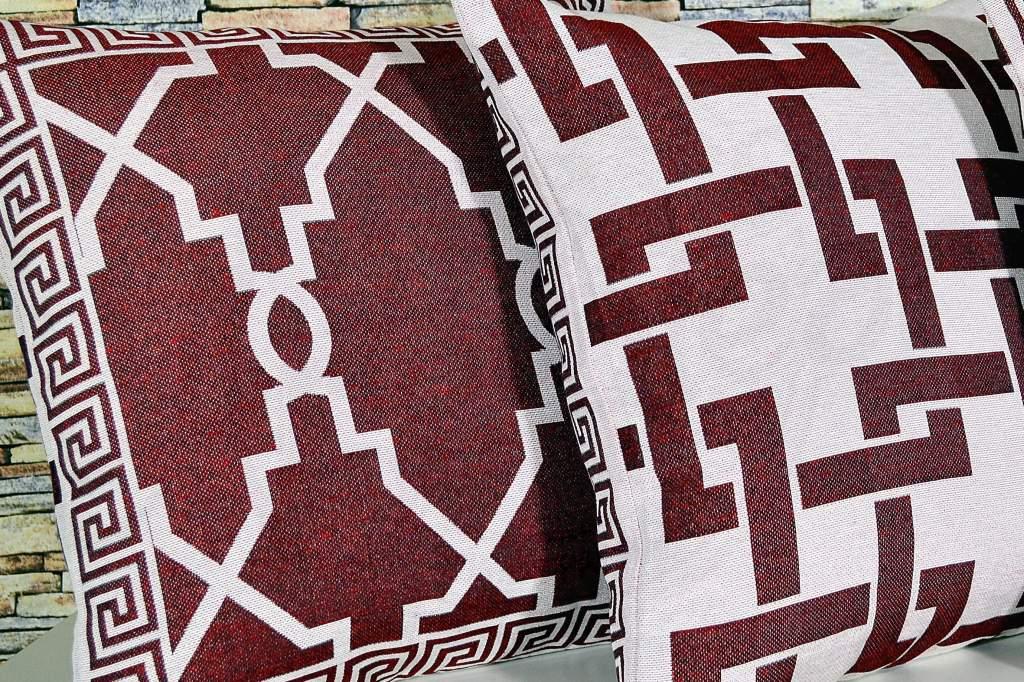 Capa de Almofada  Jacquard Rústico Dupla Face - Vinho e Cru
