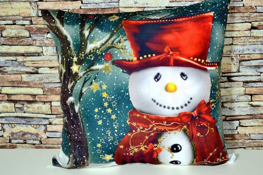 Capa de Almofada Natal - Boneco de Neve Vermelho